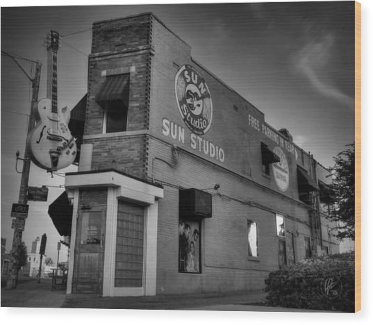 Wood Print featuring the photograph The Legendary Sun Studio 001 Bw by Lance Vaughn