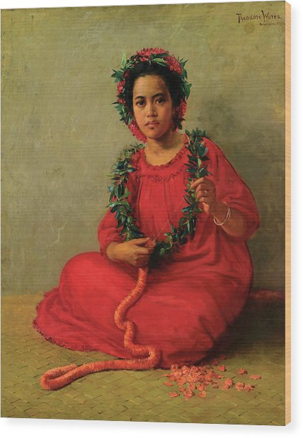 Wood Print featuring the painting The Lei Maker by Theodore Wores
