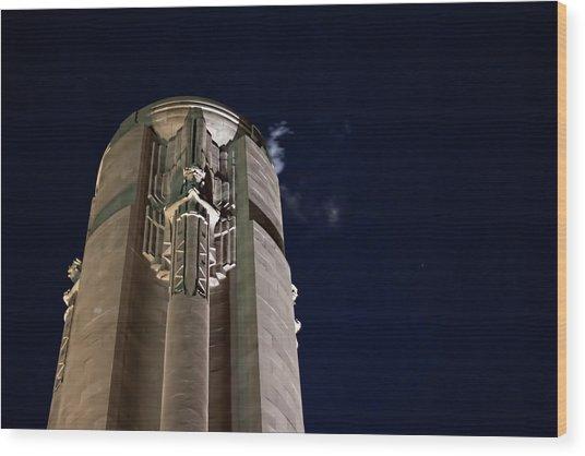 The Liberty Memorial At Night Wood Print