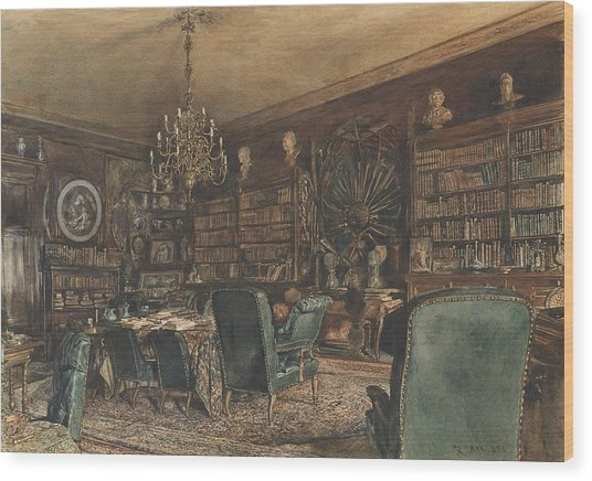 The Library In The Apartment Of Count Lanckoronski In Vienna, Riemergasse 8 Wood Print