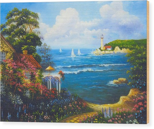 The Light House By The  Sea Wood Print by Jeanene Stein