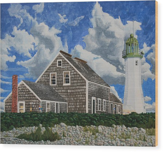 Wood Print featuring the painting The Light Keeper's House by Dominic White