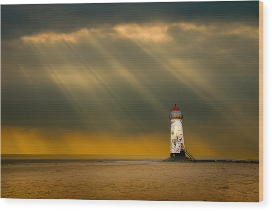 The Lighthouse As The Storm Breaks Wood Print
