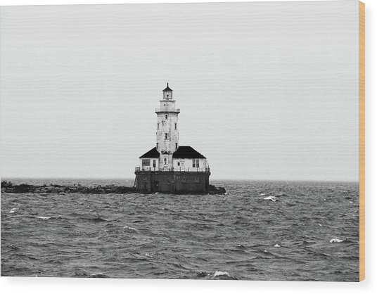 The Lighthouse Black And White Wood Print