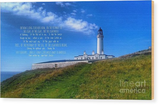 The Lighthouse On The Mull With Poem Wood Print