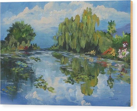 The Lily Pond At Giverny  Wood Print by Torrie Smiley