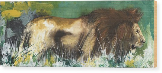 The Lion Wood Print