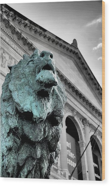 The Lion-arted Wood Print