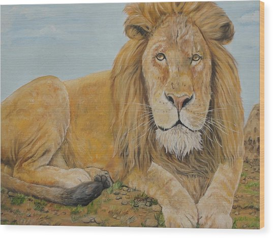 The Lion Wood Print by Rajesh Chopra
