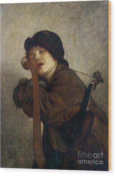 The Little Violinist Sleeping Wood Print