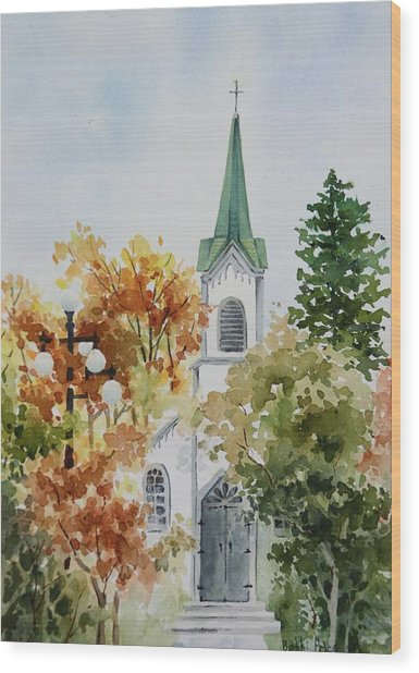 The Little White Church Wood Print by Bobbi Price
