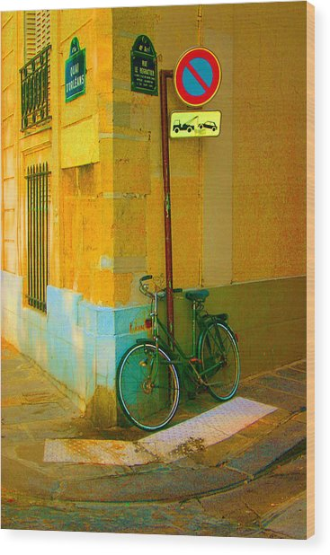 The Locked Bike Wood Print by Dennis Curry