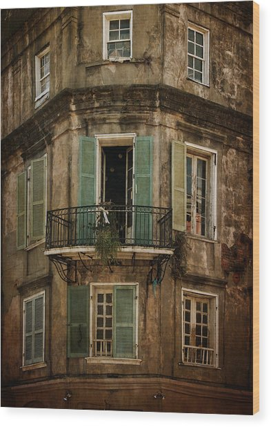 The Lone Balcony Of New Orleans Wood Print