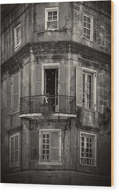 The Lone Balcony Of New Orleans In Black And White Wood Print