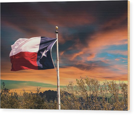 The Lone Star Flag Wood Print