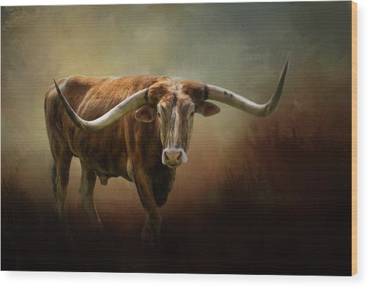 The Longhorn Wood Print