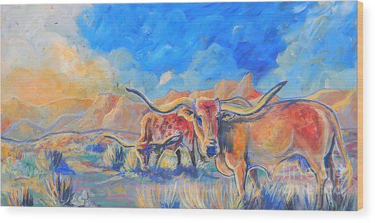 The Longhorns Wood Print