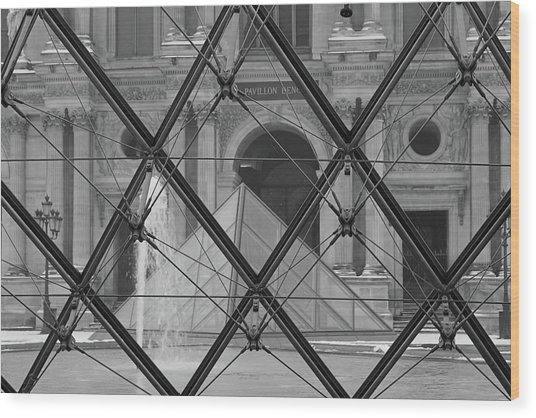 The Louvre From The Inside Wood Print