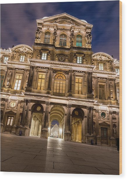The Louvre Museum At Night Wood Print