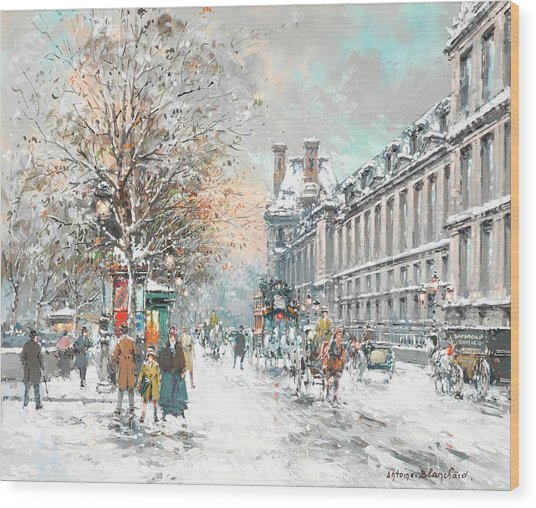 The Louvre-winter Wood Print