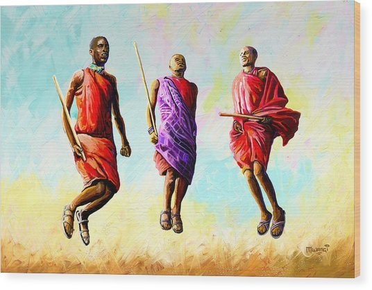 The Maasai Jump Wood Print