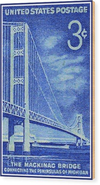 The Mackinac Bridge Stamp Wood Print