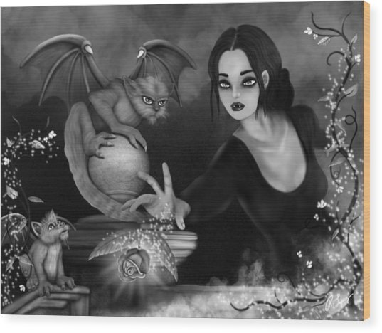 The Magic Rose - Black And White Fantasy Art Wood Print