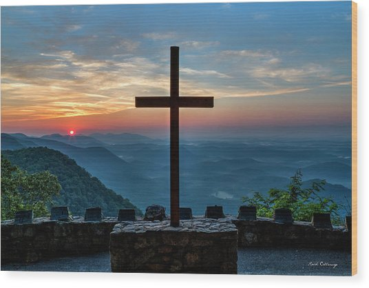 The Magnificent Cross Pretty Place Chapel Greenville Sc Great Smoky Mountains Art Wood Print