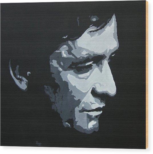 The Man In Black Wood Print
