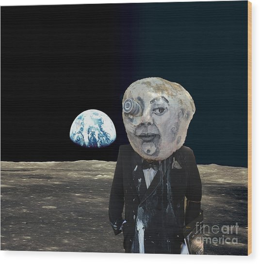 The Man In The Moon Wood Print