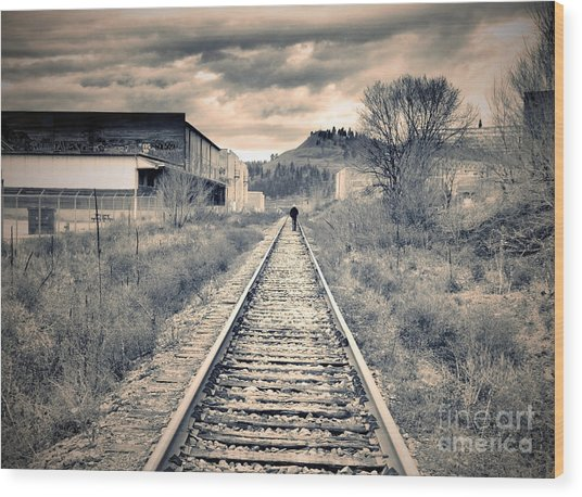The Man On The Tracks Wood Print