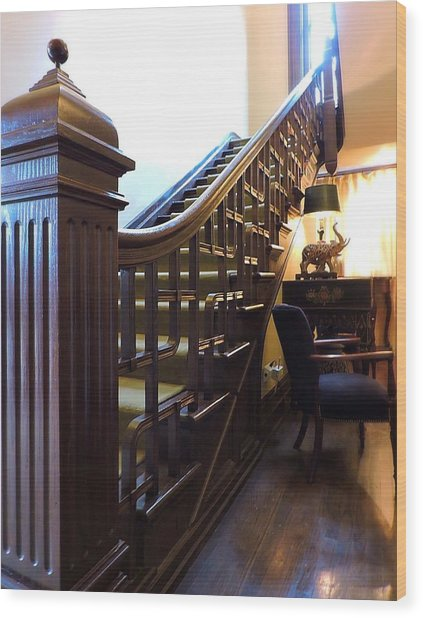 The Mansion Staircase Wood Print By Peg Donnellan
