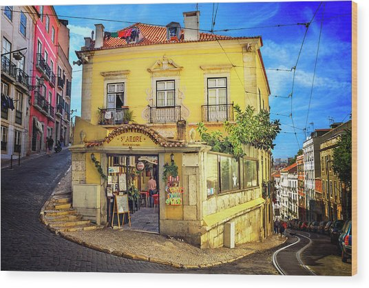 The Many Colors Of Lisbon Old Town  Wood Print