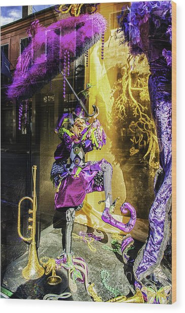 The Mardi Gras Jester Wood Print