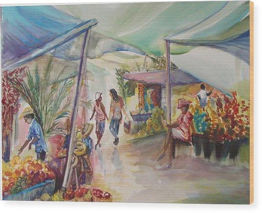 The Market Wood Print by Shelley Capovilla