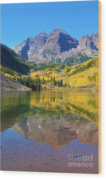 The Maroon Bells Wood Print