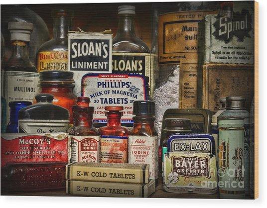 The Medicine Shelf Wood Print