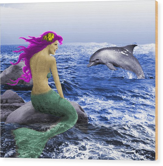 The Mermaid And The Dolphin Wood Print
