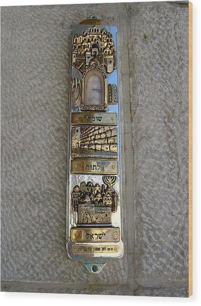 The Mezuzah At The Entry To The Kotel Plaza Wood Print by Susan Heller