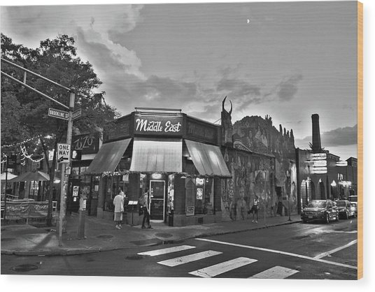 The Middle East In Central Square Cambridge Ma Black And White Wood Print