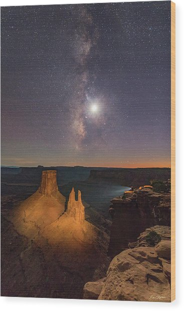 The Milky Way And The Moon From Marlboro Point Wood Print