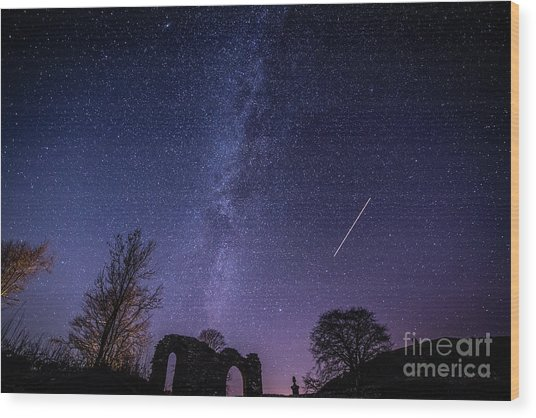 The Milky Way Over Strata Florida Abbey, Ceredigion Wales Uk Wood Print