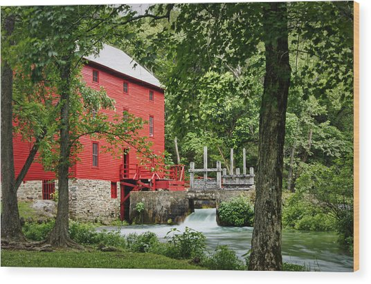 The Mill At Alley Spring Wood Print
