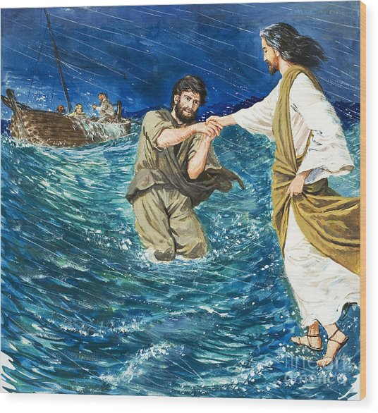 The Miracles Of Jesus Walking On Water  Wood Print