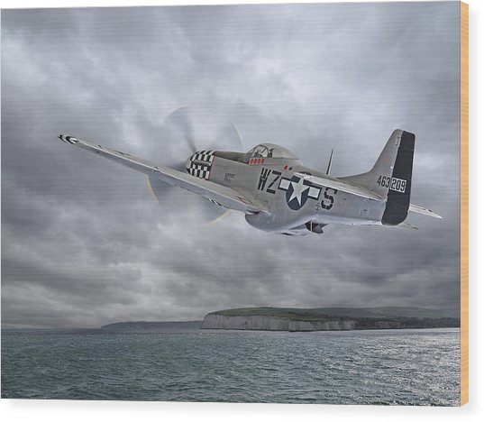 The Mission - P51 Over Dover Wood Print