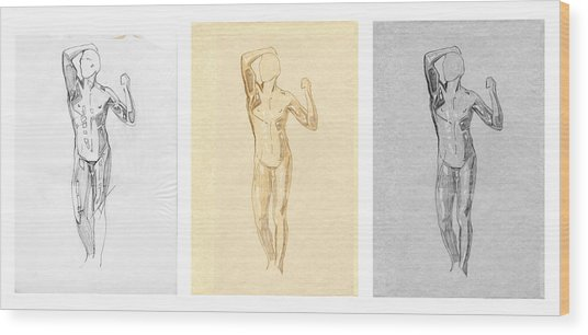 The Modern Age - Triptych - Homage Rodin  Wood Print