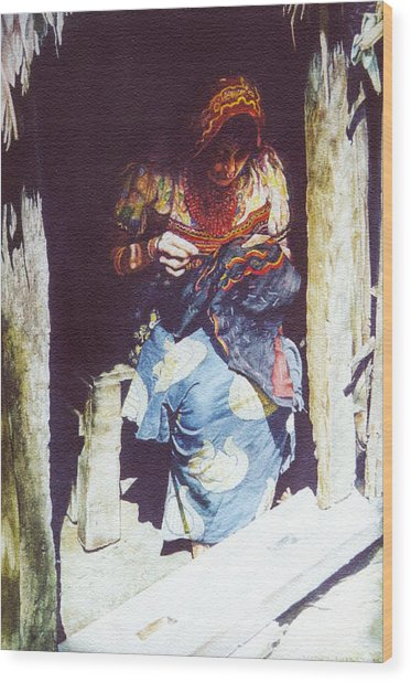 The Mola Maker Wood Print by Marion  Hylton