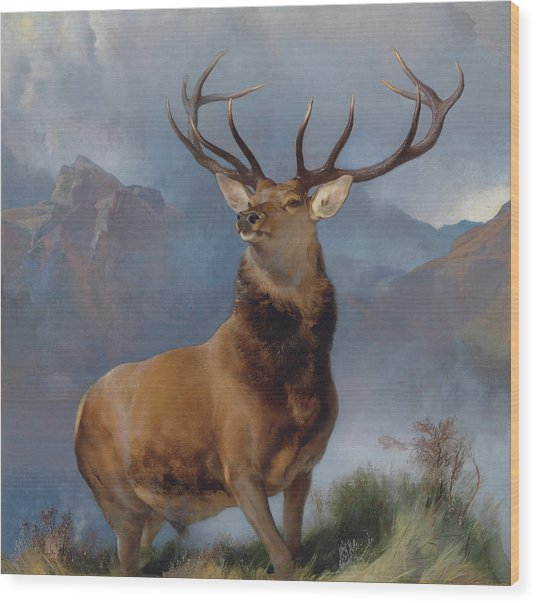 The Monarch Of The Glen Wood Print