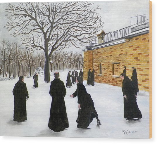 The Monks Of Clear Creek Abby Wood Print