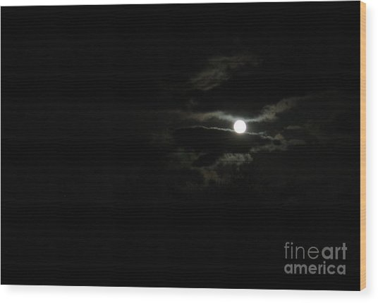 The Moon In Between Wood Print